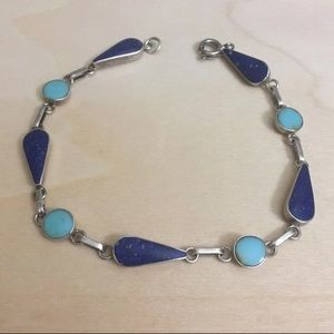 950 Silver Turquoise & Lapis Lazuli Bracelet